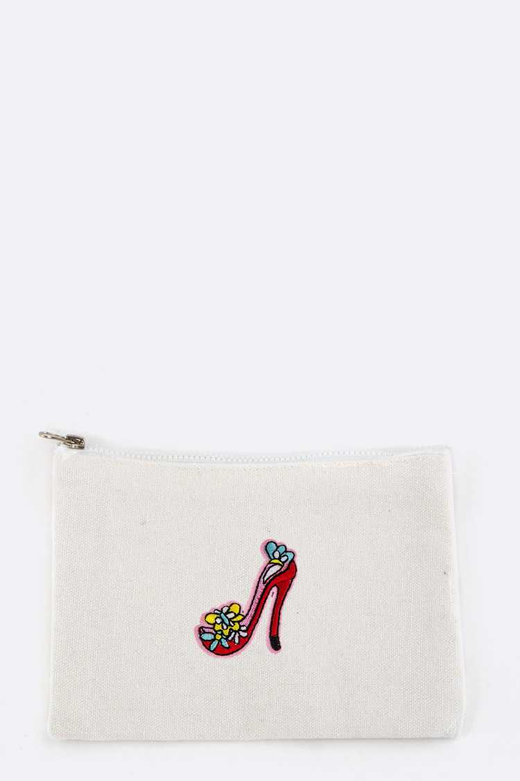 High Heel Patched Canvas Mini Pouch