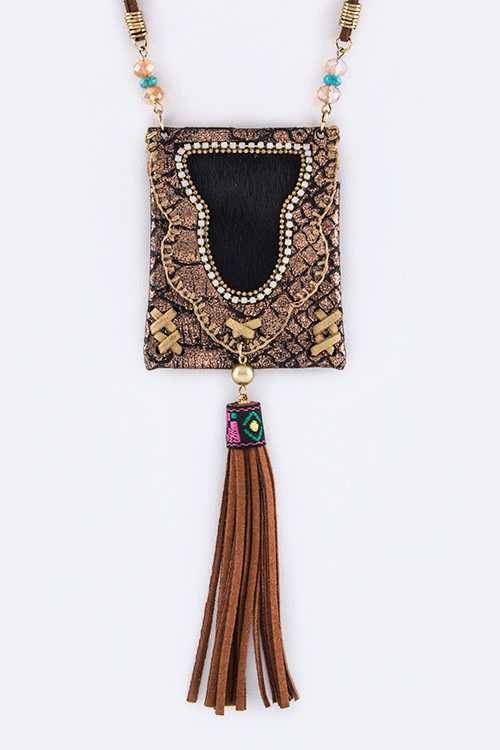 Suede Tassel Boho Chic Pouch Necklace