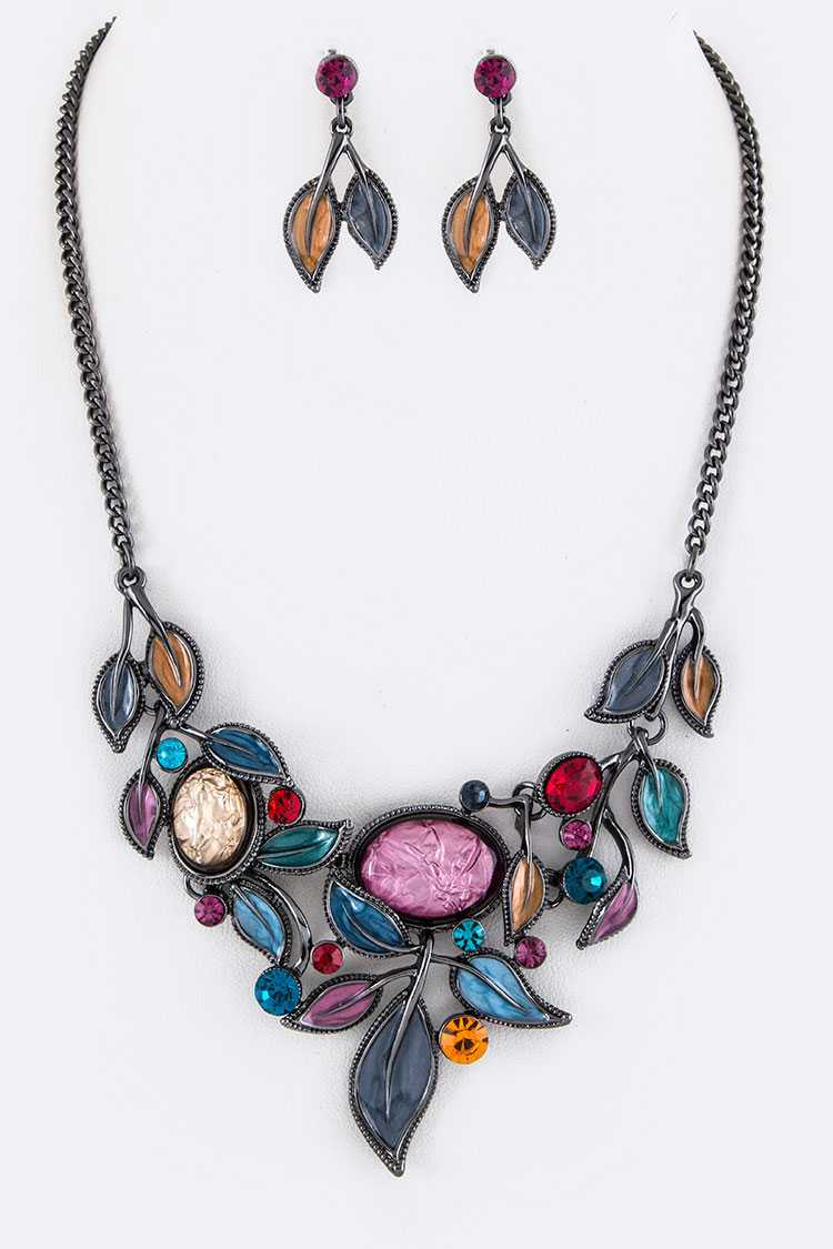 Crystal & Enamel Leaf Statement Necklace Set
