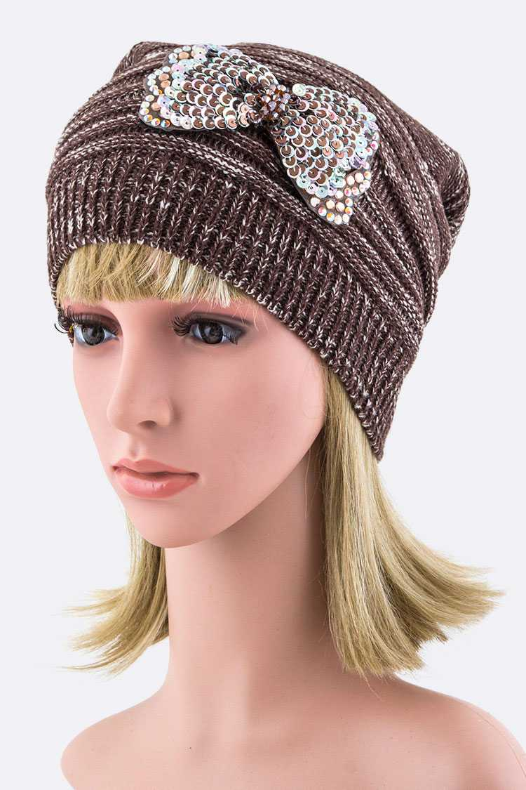 Sequins Bow Slouchy Beanie Hat