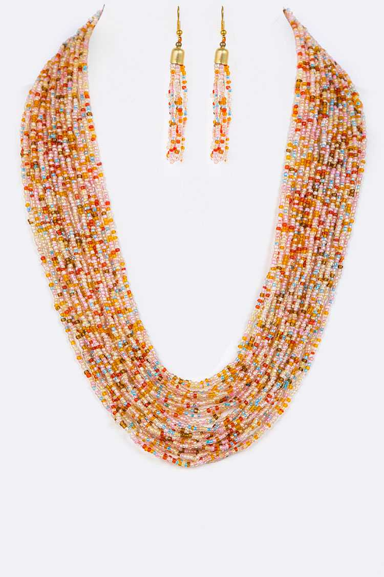 Seed Beads Layered Necklace Set