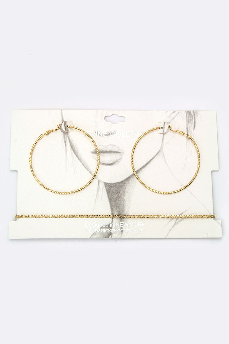 Chain Choker & Notched Metal Hoop Earrings Set