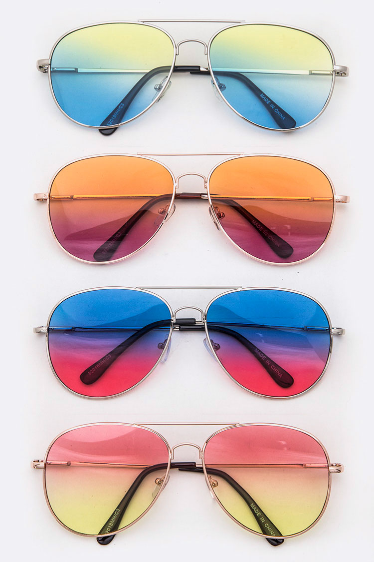 2 Tone Color Tint Aviator Sunglasses