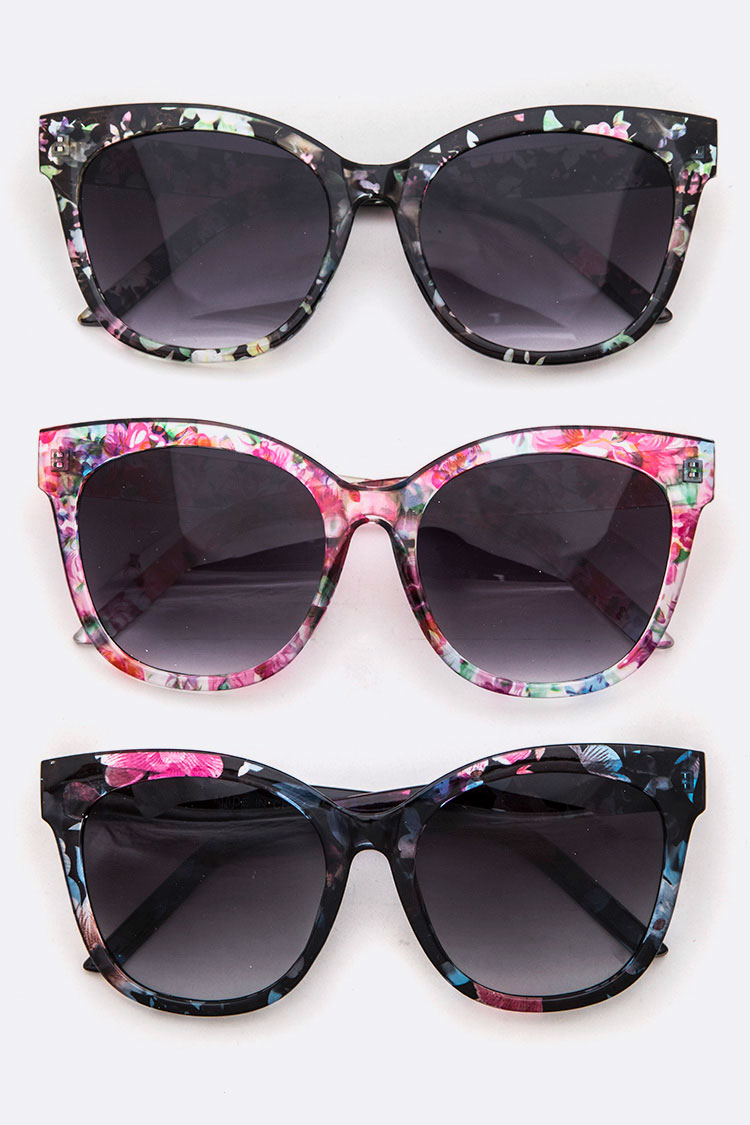 Mix Floral Frame Iconic Cat Eye Sunglasses Set