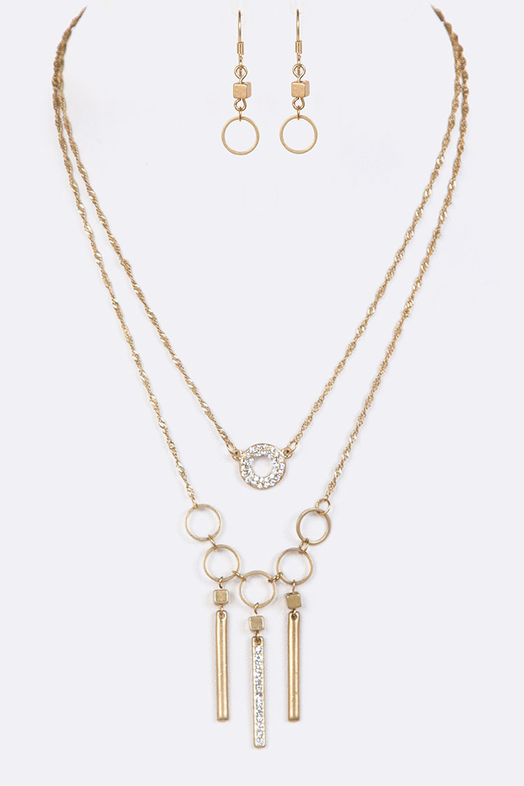 Crystal Bar Layered Pendant Necklace Set