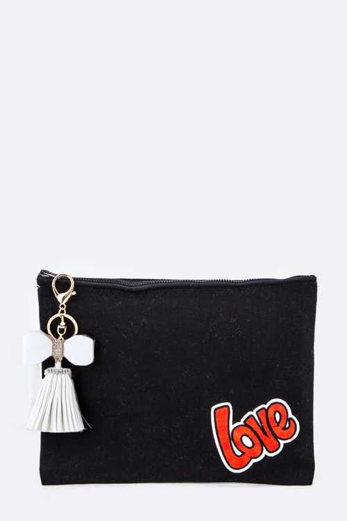 Love & Bow Tassel Canvas Pouch