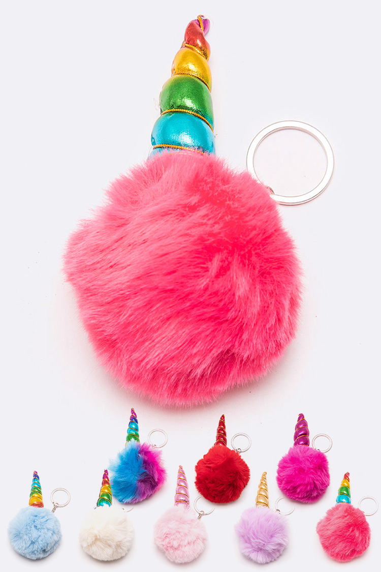 Unicorn Soft PomPom Key Chain Set