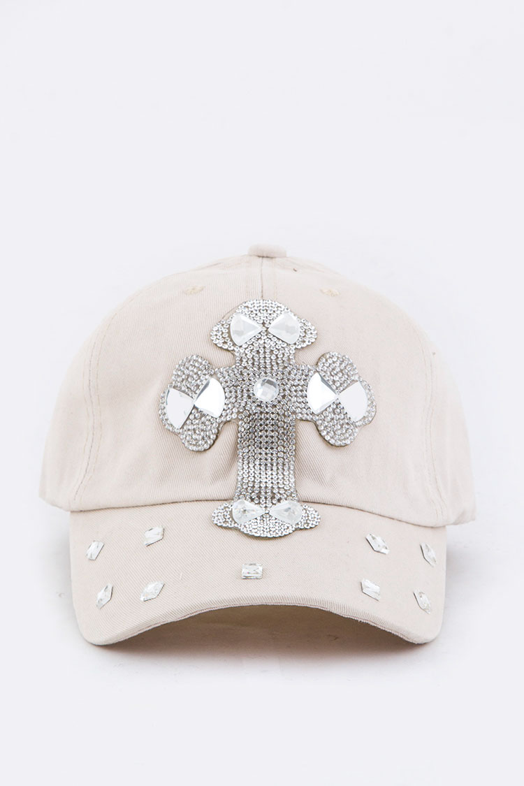 Crystal Cross Embelished Fashion Cap