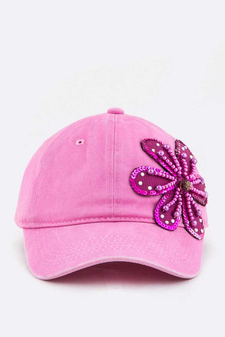 Bead & Sequins Flower Accent Cotton Cap