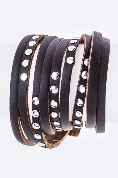 Studded Slit Leather Wrapped Bracelet