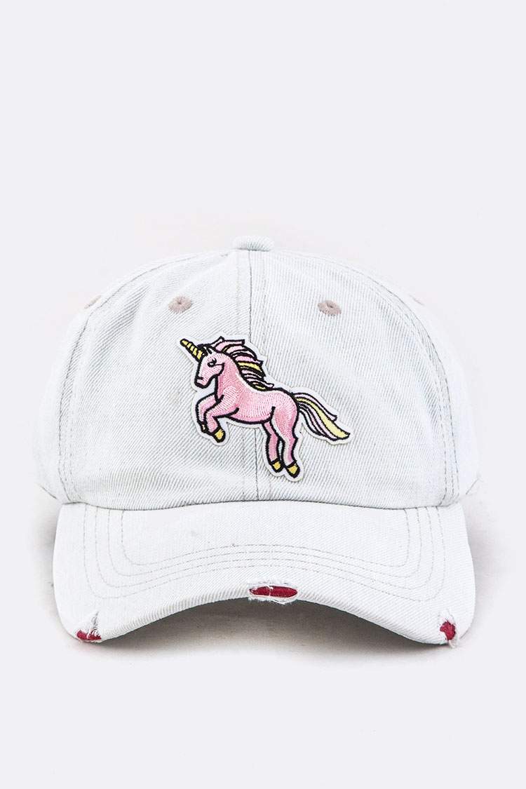 Unicorn Embroidery Distressed Denim Cap