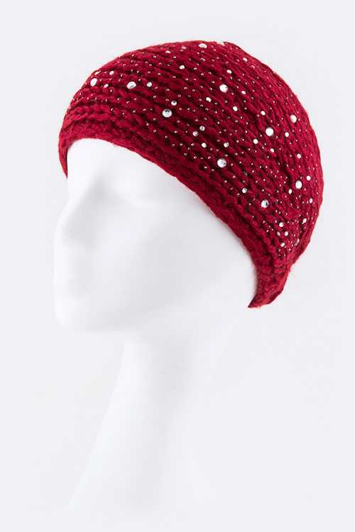 Clustered Crystals Wide Knit Hair Wrap