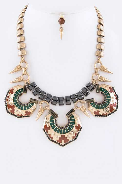 Tribal Dager & Shield Statement Necklace Set