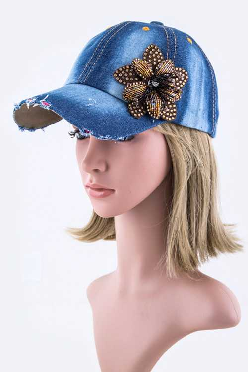 Beaded Flower Fashion Denim Cap
