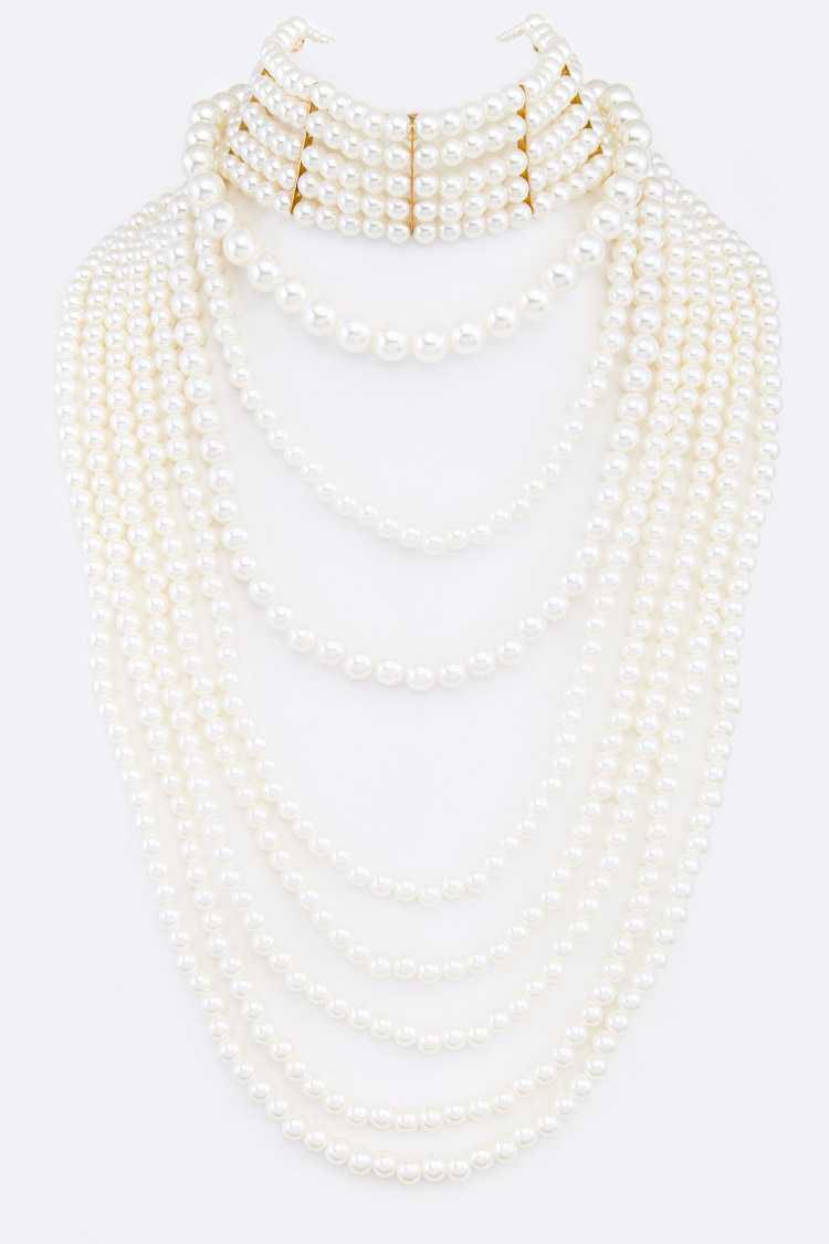 2 In 1 Convertible Pearl Choker Layer Necklace