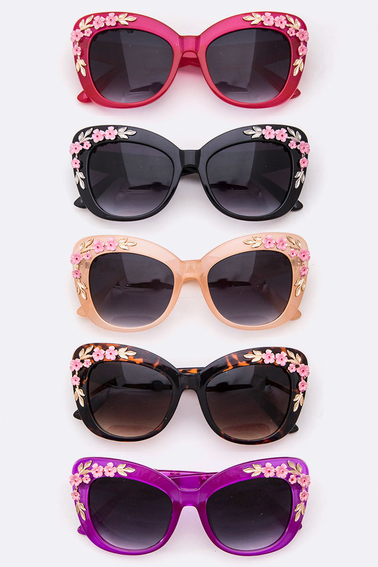 Flower Accent Oversize Iconic Sunglasses