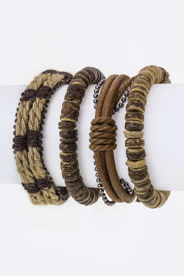 Leather & Hemp Bracelets Set