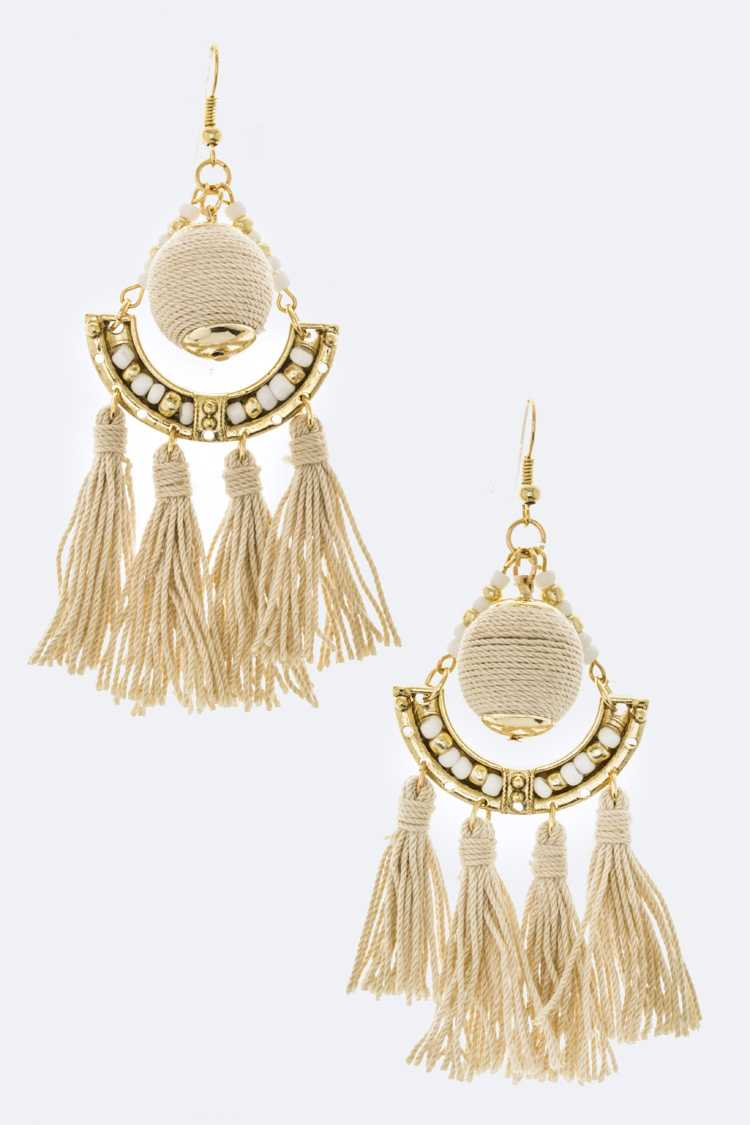 Yarn Ball & Tassel Earrings