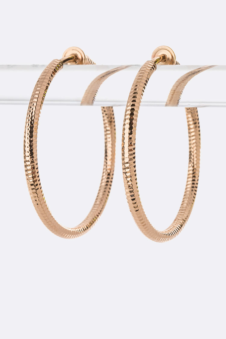 Clip On Texture Hoop Earrings