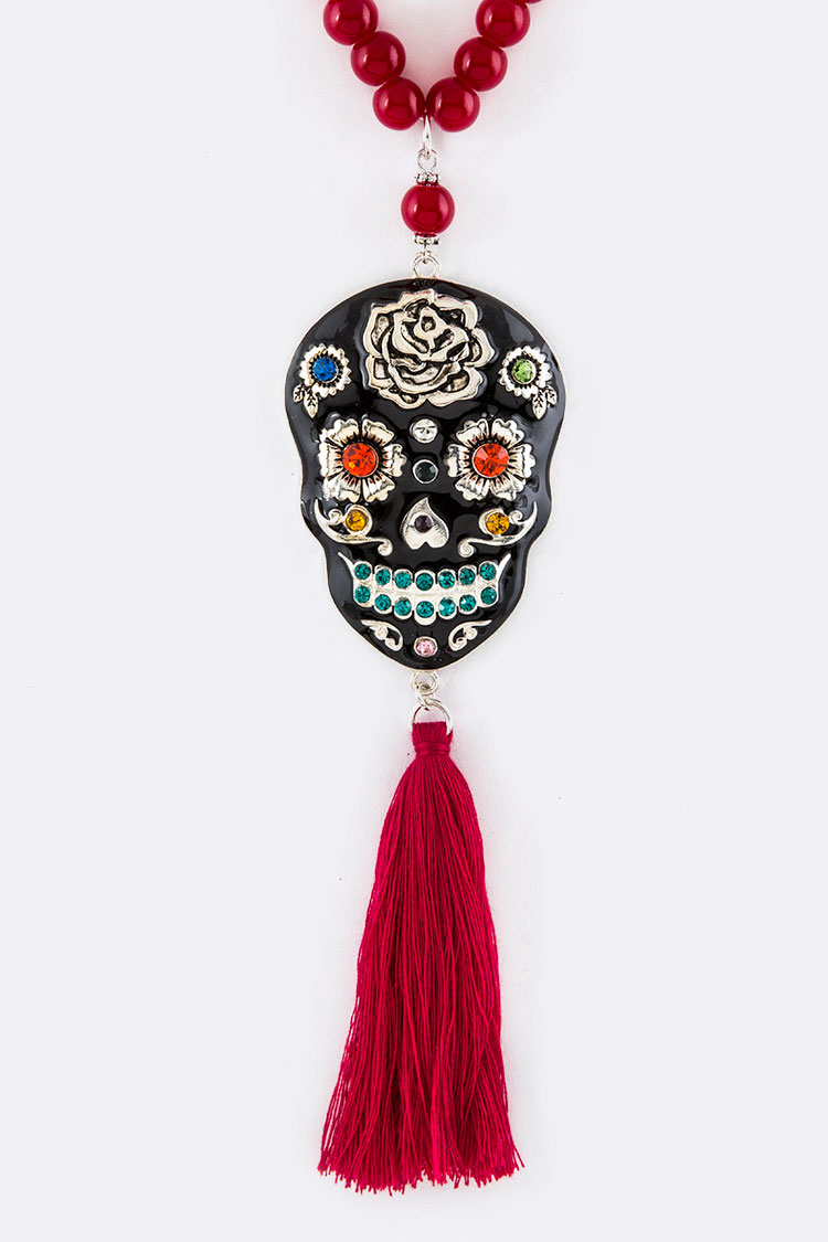 iconic Sugar Skull Tassel Beads Long Necklace