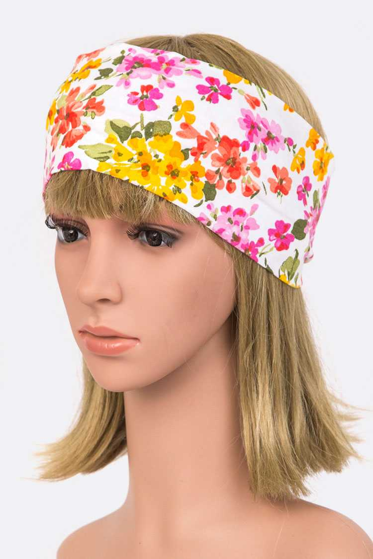 Jersey Knit Wide Floral Printed Headband