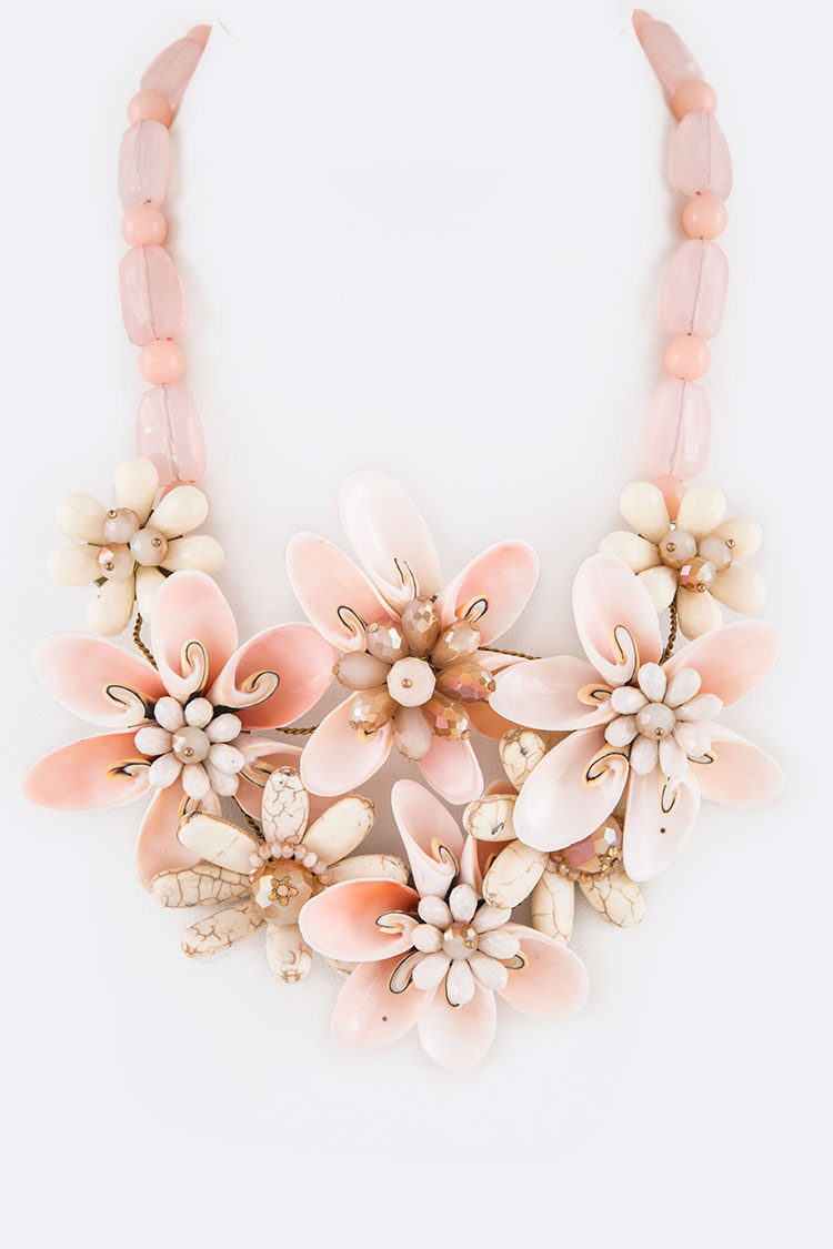 Mix Shell & Stone Flower Statement Necklace Set