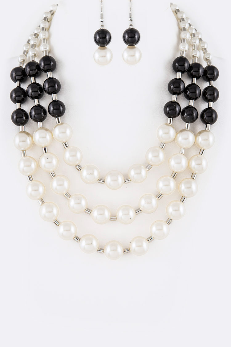 Pearl & Beads Layer Statement Necklace Set
