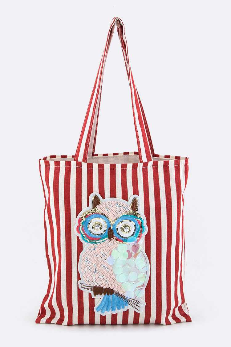 Sequins Owl Canvas Tote