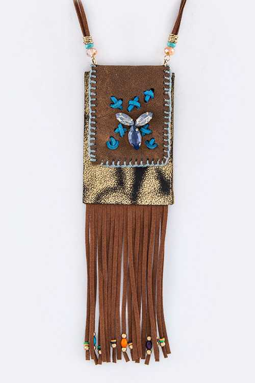 Fringe Suede & Mix Jeweled Pouch Necklace