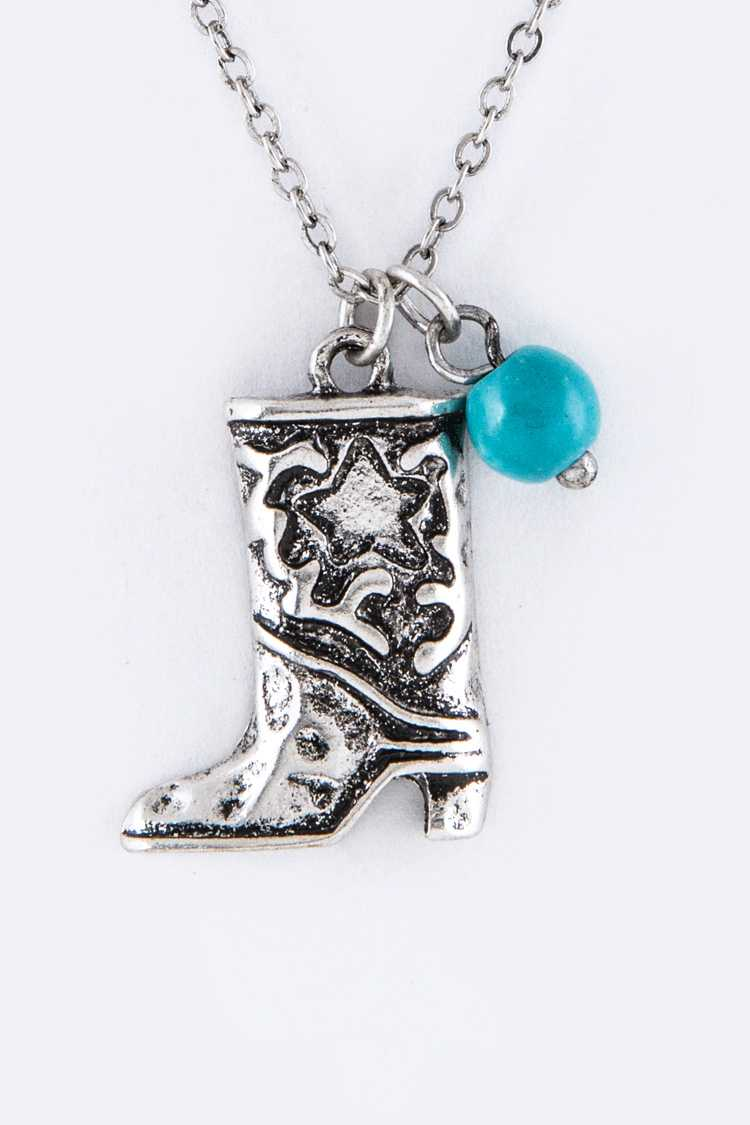 Metal Boot Pendant Necklace Set