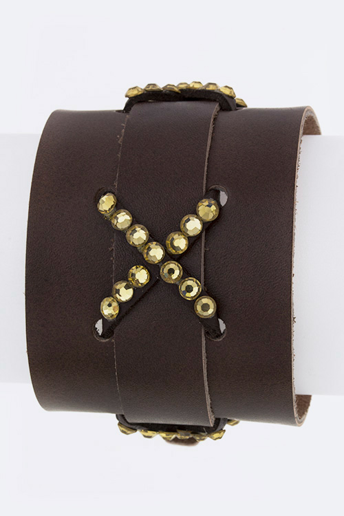 Crystal Pave Buckle Leather Cuff