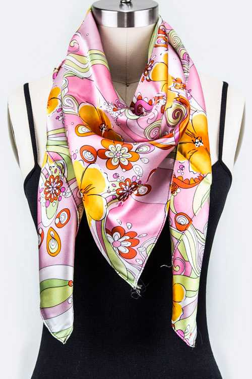 Floral Print Square Silk Scarf