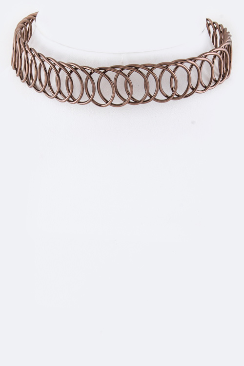 Looping Wire & Leather Bow Choker