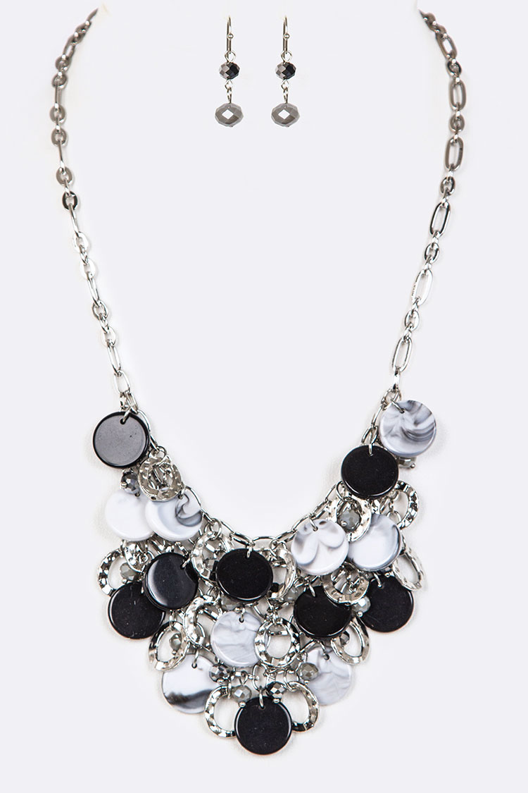 Mix Disk & Rings Layered Necklace Set
