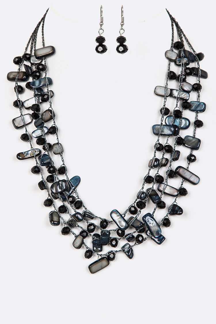 Stone Chips Hand Knotted Layer Necklace Set