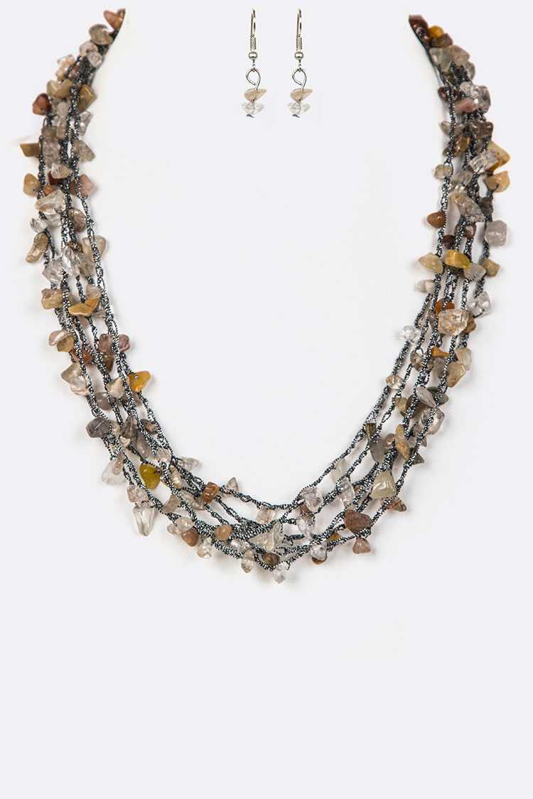 Mix Stone Chips Layered Necklace Set