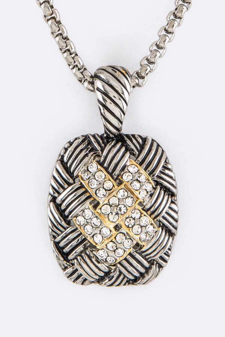 Crystal & Woven Textured Pendant Designer Necklace