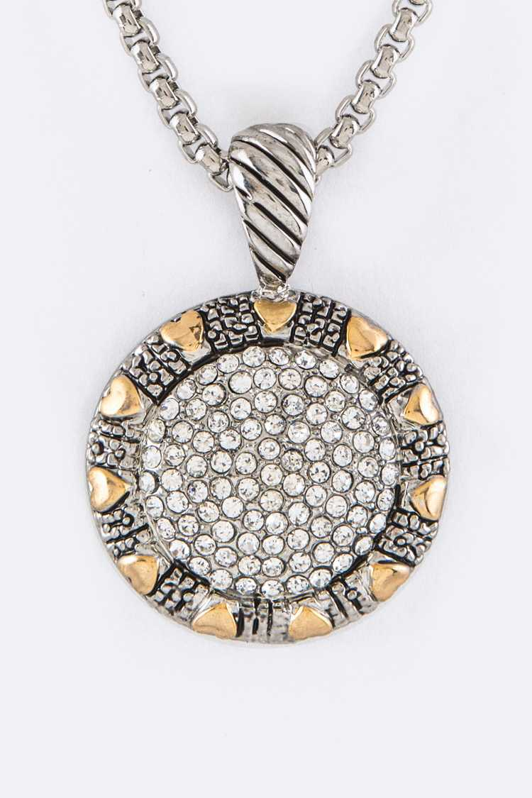 Pave Crystals Pendant Designer Necklace