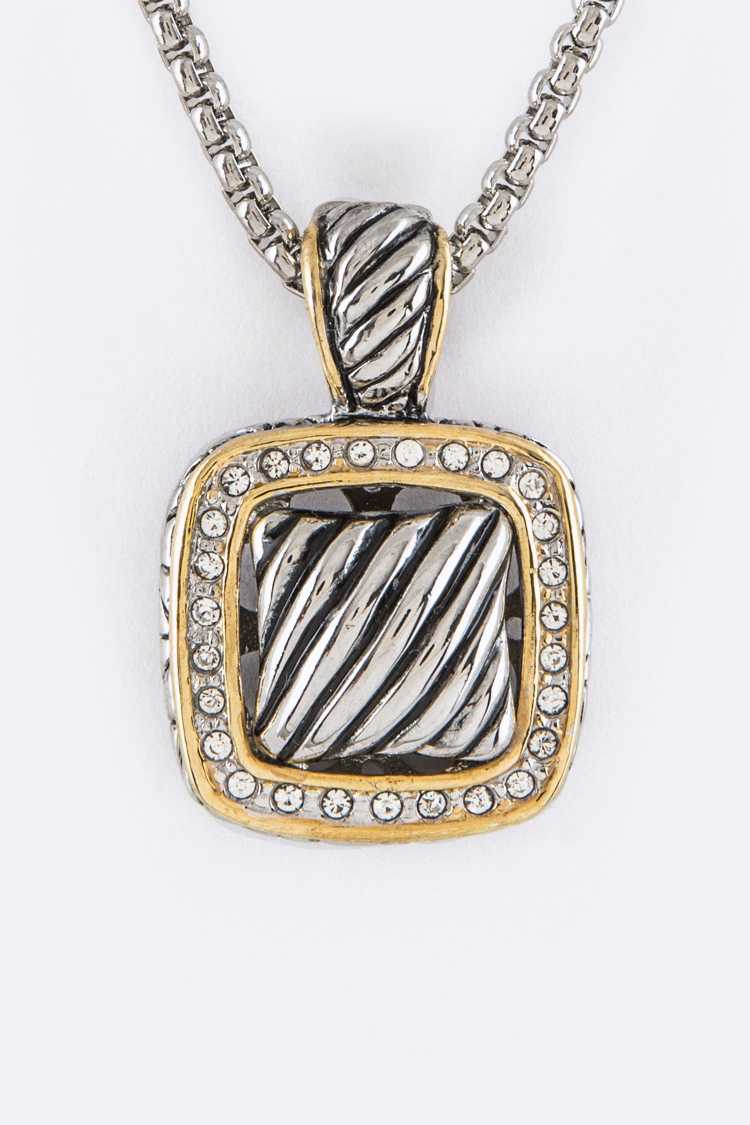 Crystal & Textured Square Pendant Designer Necklace