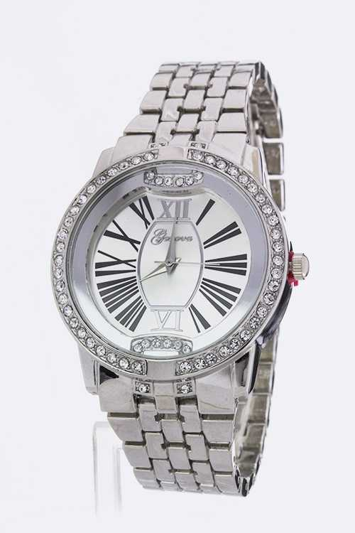 Crystal Bezel Roman Number Dial Watch