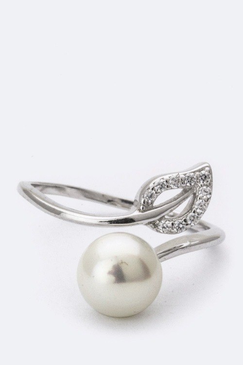 Sterling Silver CZ Leaf & Pearl Ring
