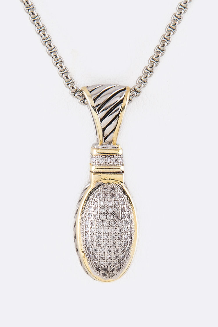 CZ Oval Pendant 2 Tone Necklace