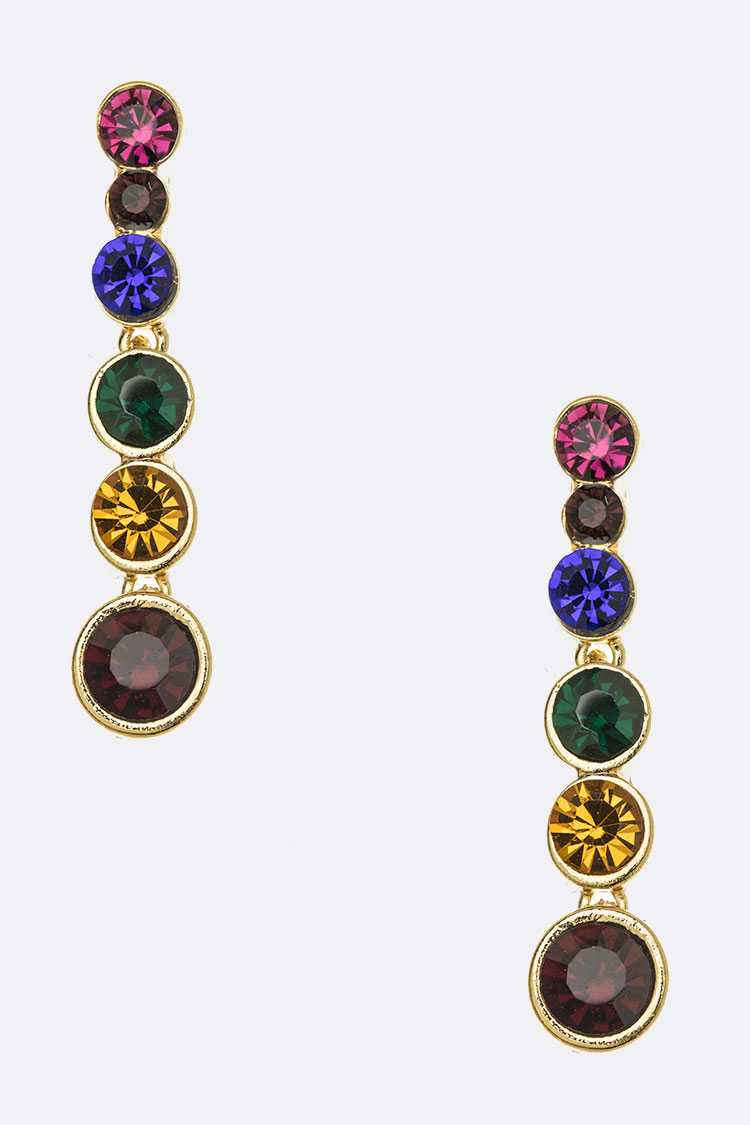 Mix Color Crystal Drop Earrings