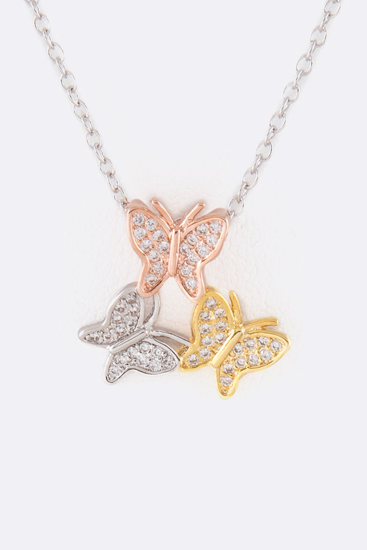 Tri-Tone Butterfly Pendant Necklace