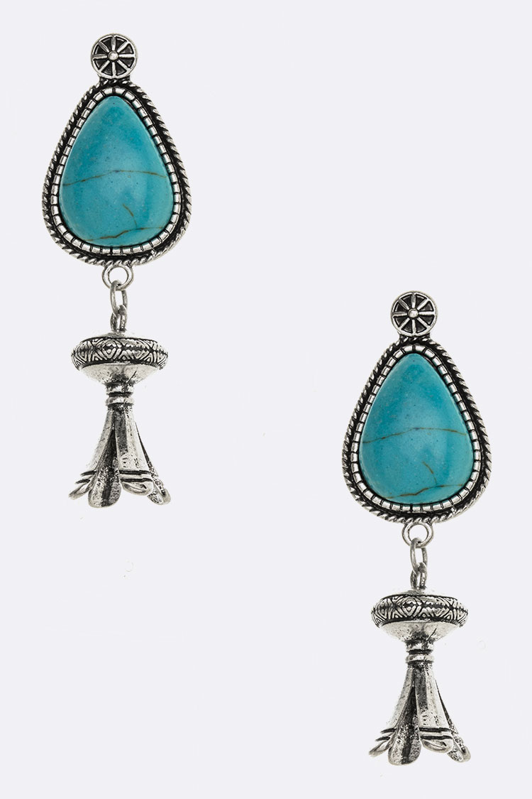 Squash Blossom 3D Drop Turquoise Earrings