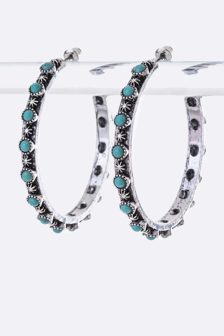 Engraved Turquoise Iconic Hoops