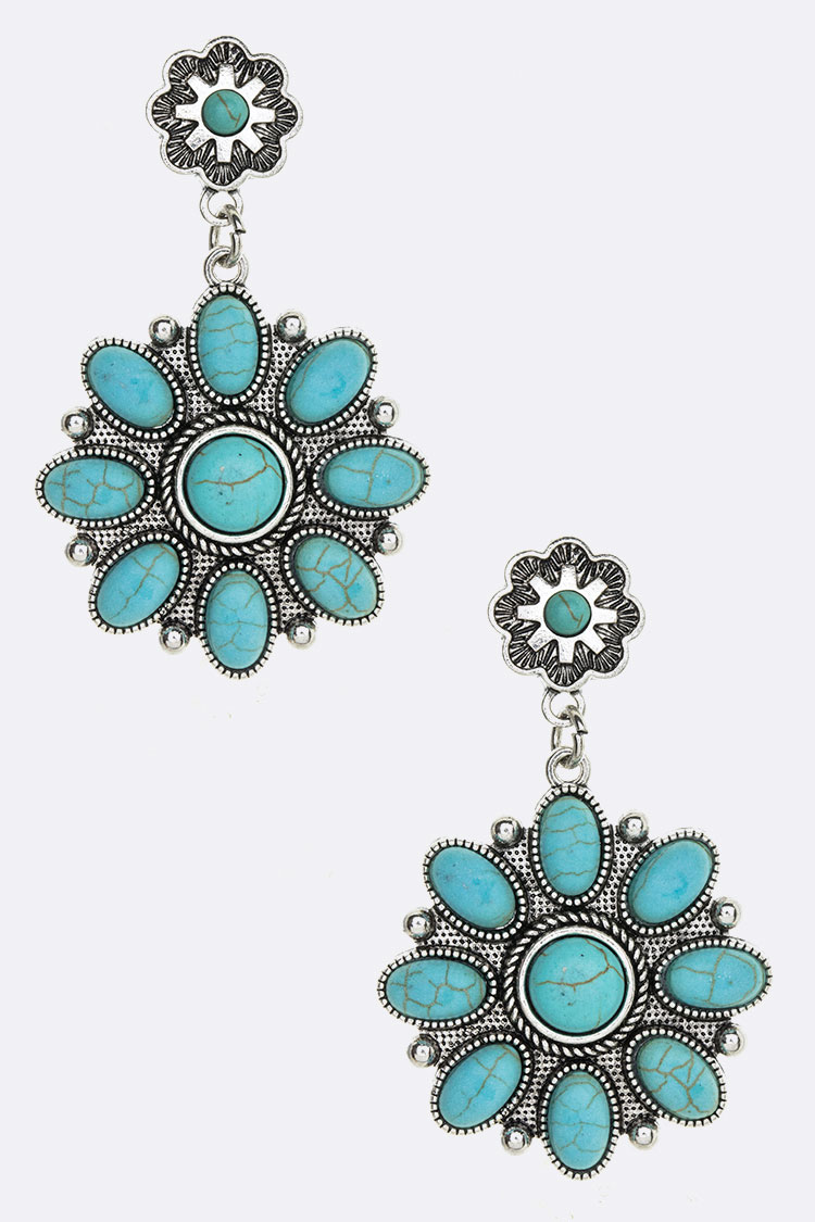 Mix Stone Drop Western Earrings
