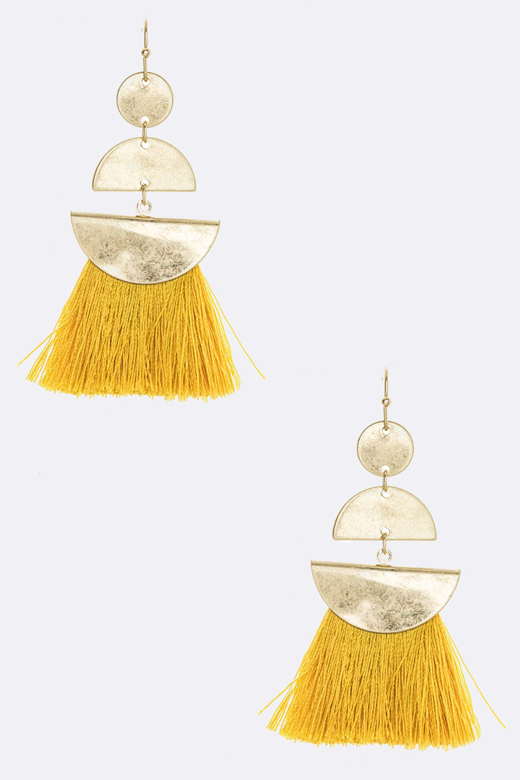 Iconic Metal Tassel Drop Earrings