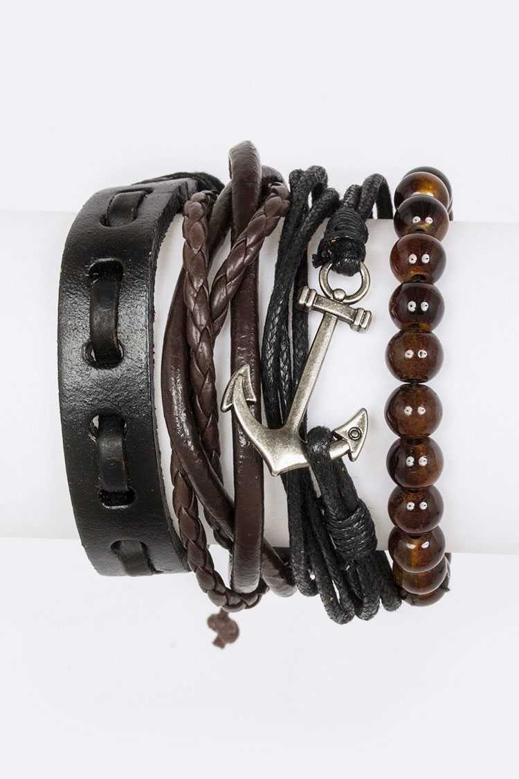 Mix Anchor Leather Bracelet Set