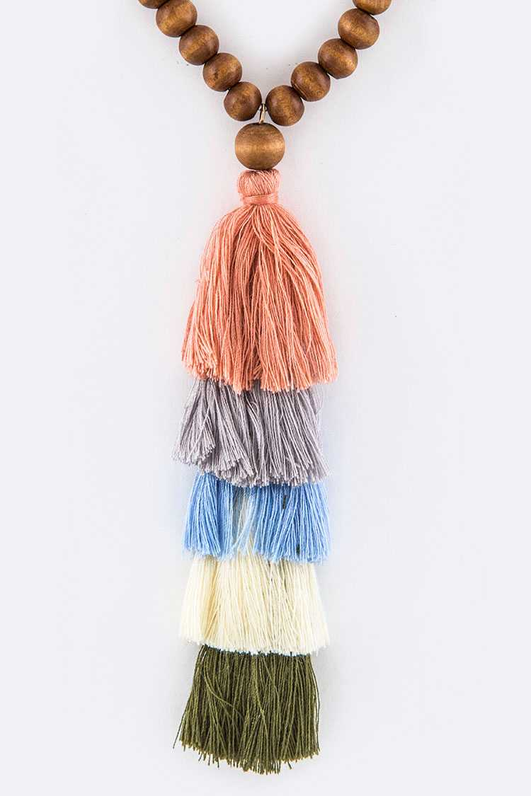 Wooden Beads & Layer Tassels Necklace